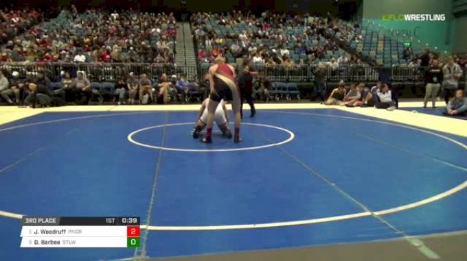 195 lbs 3rd place - Jayden Woodruff, Ponderosa vs Drake Barbee, Stilwell