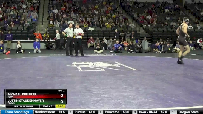 157 lbs, Semifinal, Michael Kemerer, Iowa vs Justin Staudenmayer, Brown